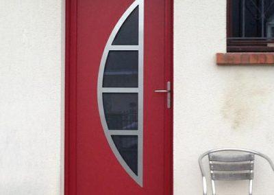 Chantier Huisseau-sur-Mauves : porte d'entrée alu
